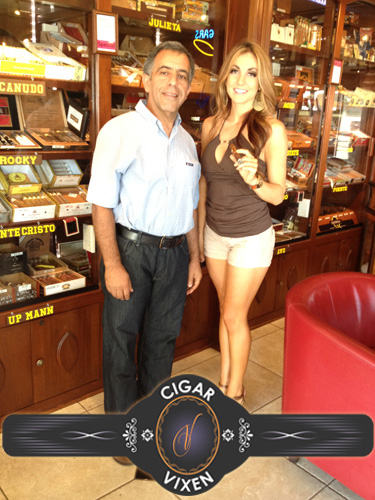 Delicia The Cigar Vixen with Owner Russ