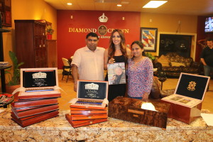 Peter & Rinku Shaw behind boxes of the Fuente Storybook collection